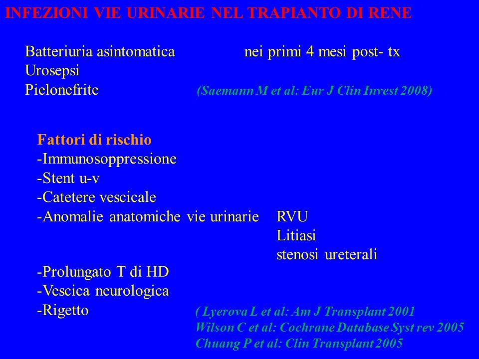 INFEZIONI VIE URINARIE NEL TRAPIANTO DI RENE Batteriuria asintomaticanei primi 4 mesi post- tx Urosepsi Pielonefrite (Saemann M et al: Eur J Clin Invest 2008) Fattori di rischio -Immunosoppressione -Stent u-v -Catetere vescicale -Anomalie anatomiche vie urinarieRVU Litiasi stenosi ureterali -Prolungato T di HD -Vescica neurologica -Rigetto ( Lyerova L et al: Am J Transplant 2001 Wilson C et al: Cochrane Database Syst rev 2005 Chuang P et al: Clin Transplant 2005