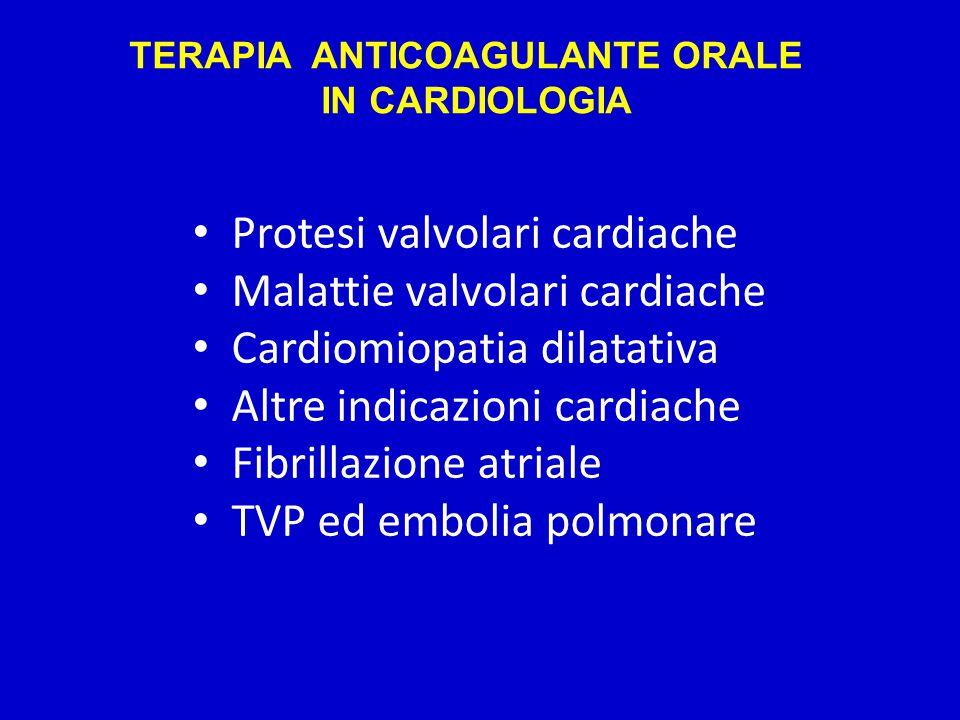 TERAPIA ANTICOAGULANTE ORALE IN CARDIOLOGIA Protesi valvolari cardiache Malattie valvolari cardiache Cardiomiopatia dilatativa Altre indicazioni cardiache Fibrillazione atriale TVP ed embolia polmonare