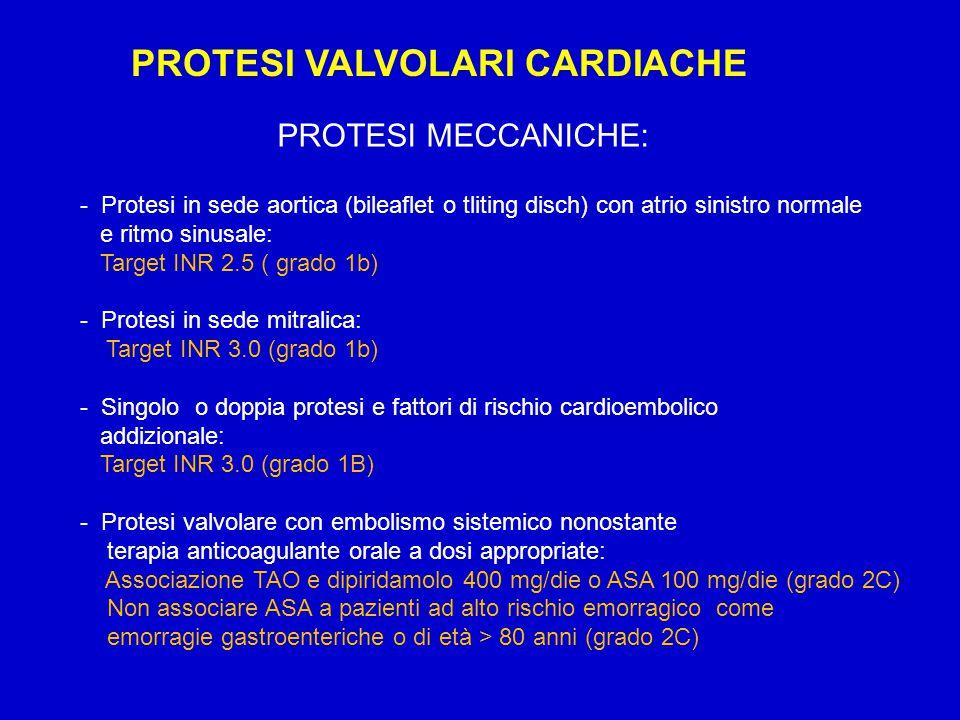 PROTESI VALVOLARI CARDIACHE - Protesi in sede aortica (bileaflet o tliting disch) con atrio sinistro normale e ritmo sinusale: Target INR 2.5 ( grado