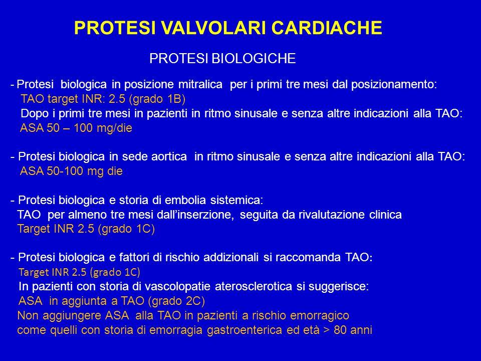 PROTESI VALVOLARI CARDIACHE PROTESI BIOLOGICHE - Protesi biologica in posizione mitralica per i primi tre mesi dal posizionamento: TAO target INR: 2.5
