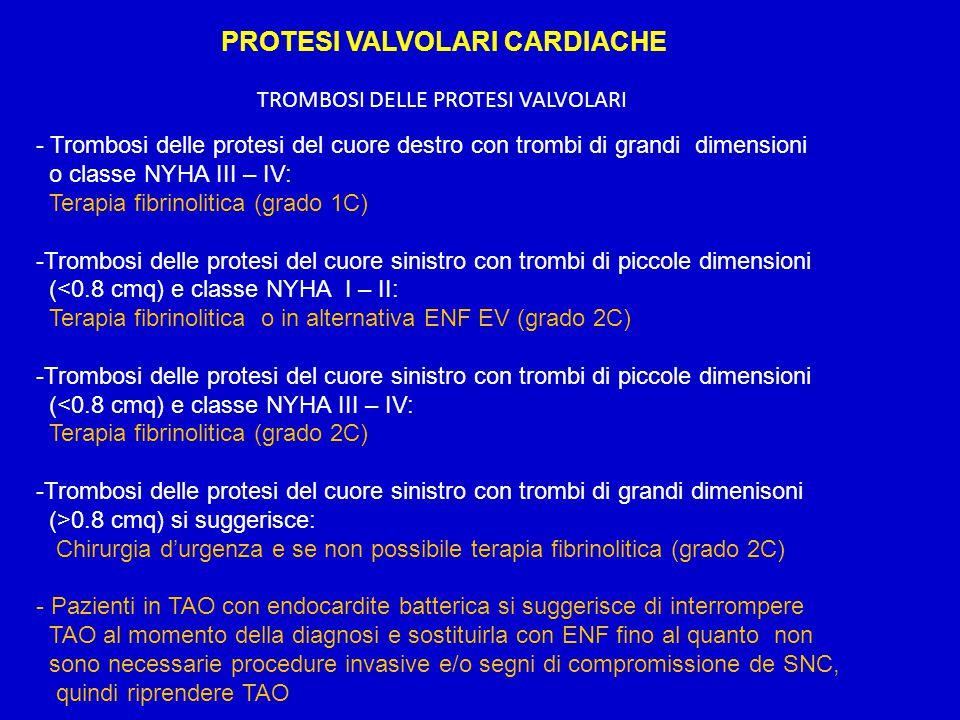 PROTESI VALVOLARI CARDIACHE TROMBOSI DELLE PROTESI VALVOLARI - Trombosi delle protesi del cuore destro con trombi di grandi dimensioni o classe NYHA I