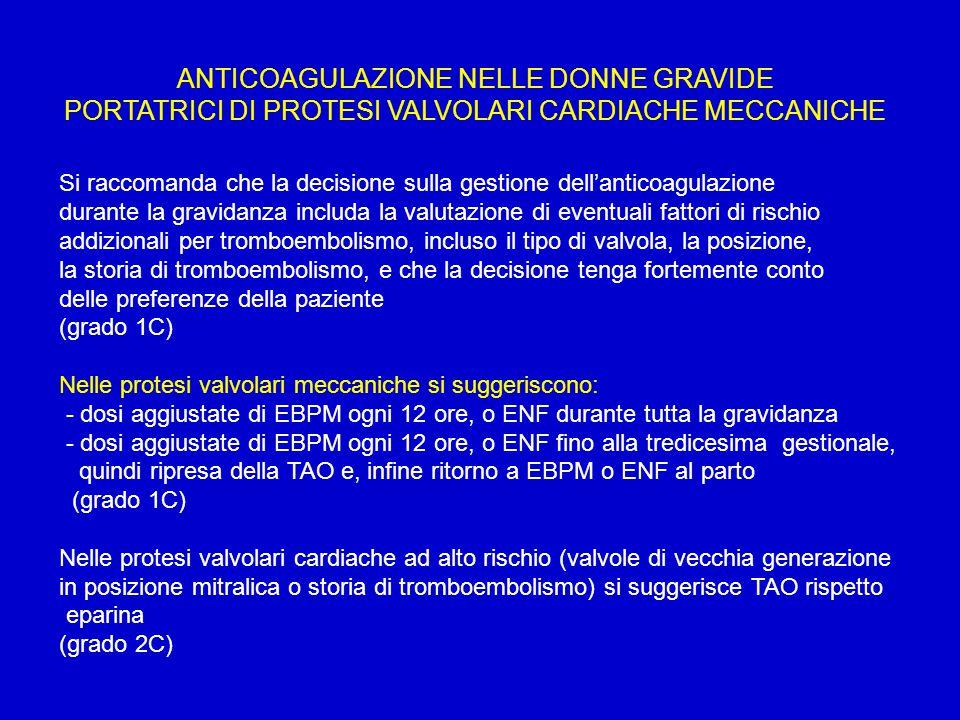 ANTICOAGULAZIONE NELLE DONNE GRAVIDE PORTATRICI DI PROTESI VALVOLARI CARDIACHE MECCANICHE Si raccomanda che la decisione sulla gestione dell'anticoagu