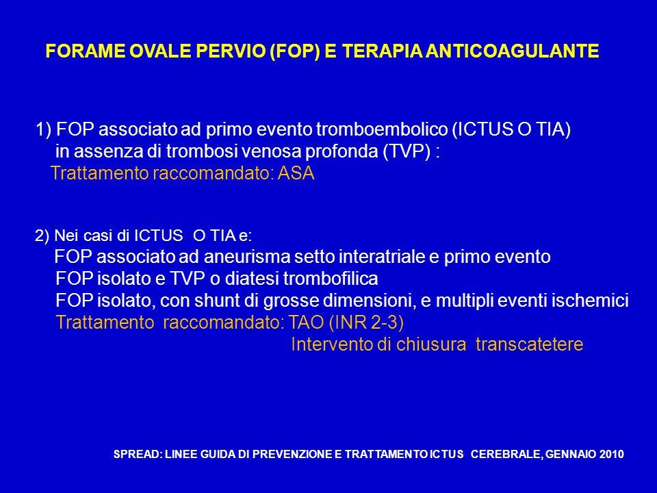 FORAME OVALE PERVIO (FOP) E TERAPIA ANTICOAGULANTE 1) FOP associato ad primo evento tromboembolico (ICTUS O TIA) in assenza di trombosi venosa profonda (TVP) : Trattamento raccomandato: ASA 2) Nei casi di ICTUS O TIA e: FOP associato ad aneurisma setto interatriale e primo evento FOP isolato e TVP o diatesi trombofilica FOP isolato, con shunt di grosse dimensioni, e multipli eventi ischemici Trattamento raccomandato: TAO (INR 2-3) Intervento di chiusura transcatetere SPREAD: LINEE GUIDA DI PREVENZIONE E TRATTAMENTO ICTUS CEREBRALE, GENNAIO 2010
