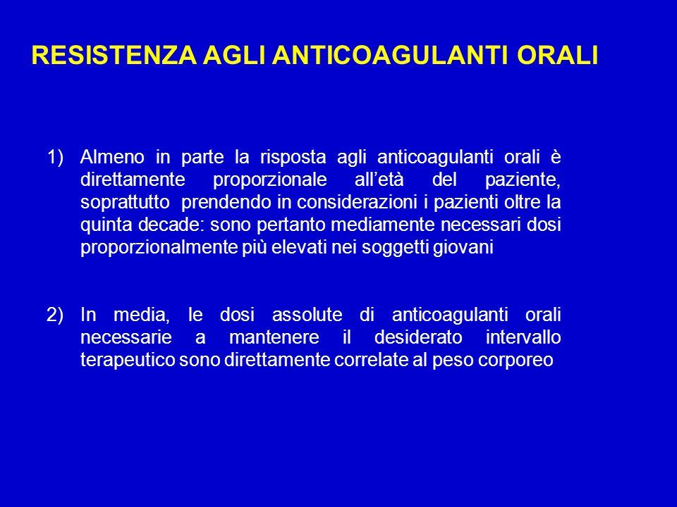 RESISTENZA AGLI ANTICOAGULANTI ORALI 1)Almeno in parte la risposta agli anticoagulanti orali è direttamente proporzionale all'età del paziente, soprat