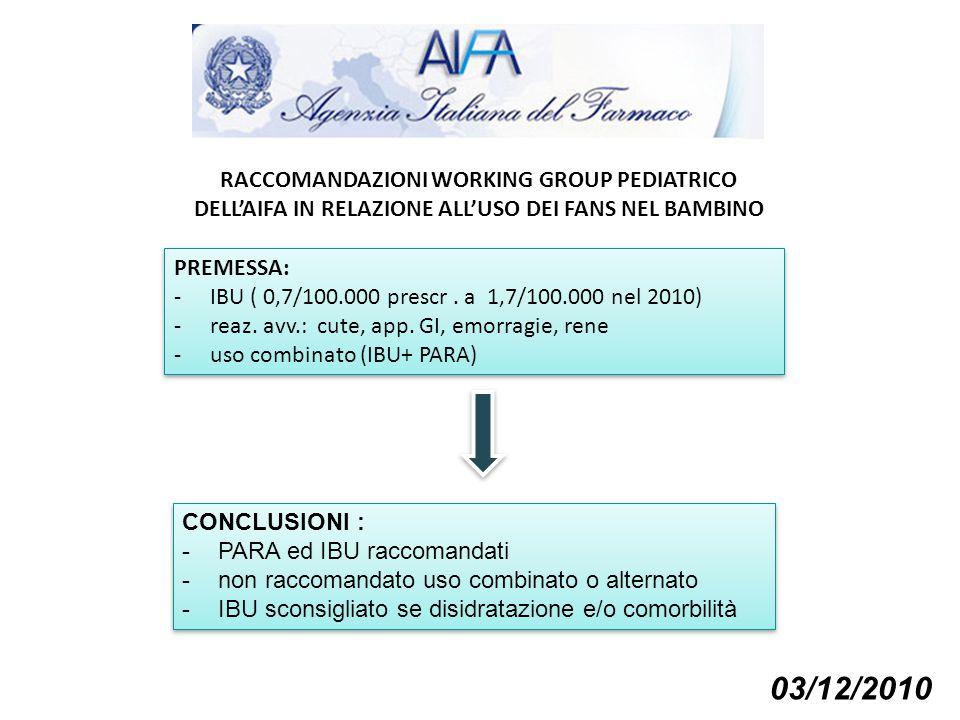 RACCOMANDAZIONI WORKING GROUP PEDIATRICO DELL'AIFA IN RELAZIONE ALL'USO DEI FANS NEL BAMBINO PREMESSA: -IBU ( 0,7/100.000 prescr. a 1,7/100.000 nel 20