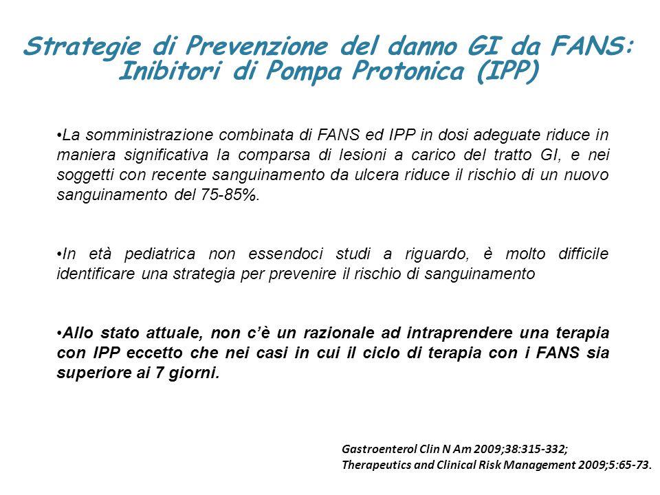 Strategie di Prevenzione del danno GI da FANS: Inibitori di Pompa Protonica (IPP) La somministrazione combinata di FANS ed IPP in dosi adeguate riduce