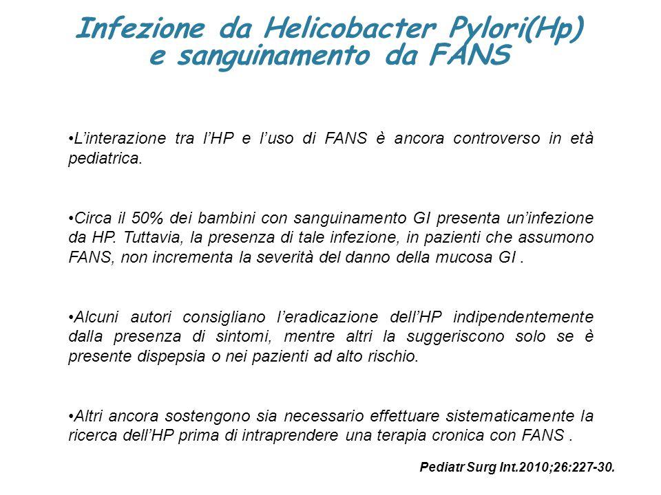 Infezione da Helicobacter Pylori(Hp) e sanguinamento da FANS L'interazione tra l'HP e l'uso di FANS è ancora controverso in età pediatrica. Circa il 5