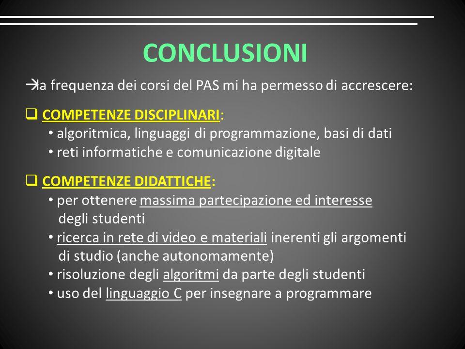 CONCLUSIONI  la frequenza dei corsi del PAS mi ha permesso di accrescere:  COMPETENZE DISCIPLINARI: algoritmica, linguaggi di programmazione, basi di dati reti informatiche e comunicazione digitale  COMPETENZE DIDATTICHE: per ottenere massima partecipazione ed interesse degli studenti ricerca in rete di video e materiali inerenti gli argomenti di studio (anche autonomamente) risoluzione degli algoritmi da parte degli studenti uso del linguaggio C per insegnare a programmare