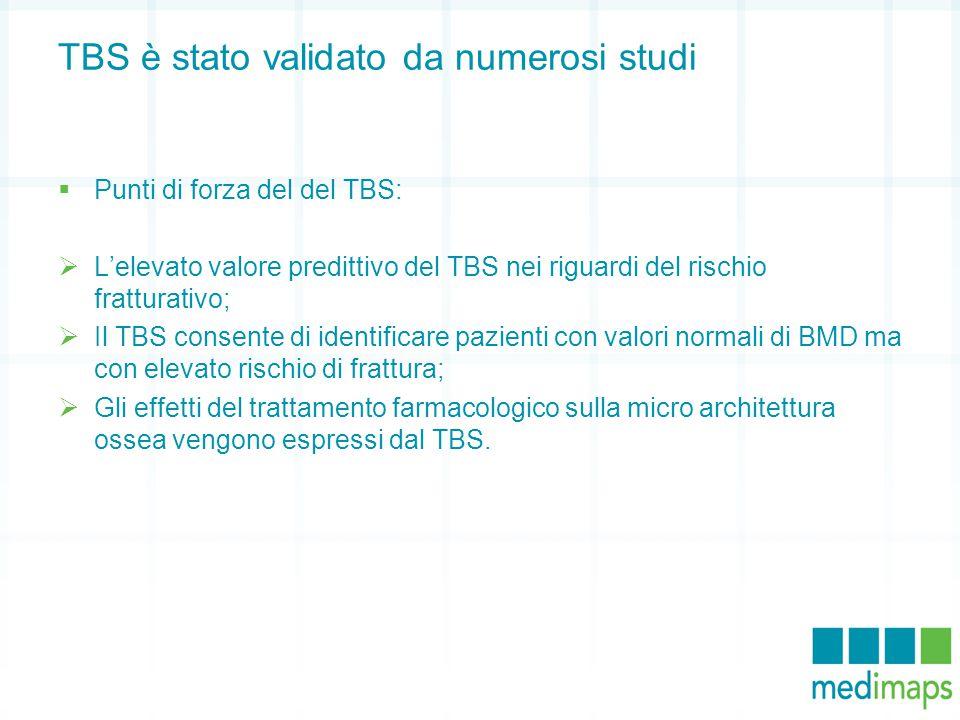 TBS è stato validato da numerosi studi  Punti di forza del del TBS:  L'elevato valore predittivo del TBS nei riguardi del rischio fratturativo;  Il