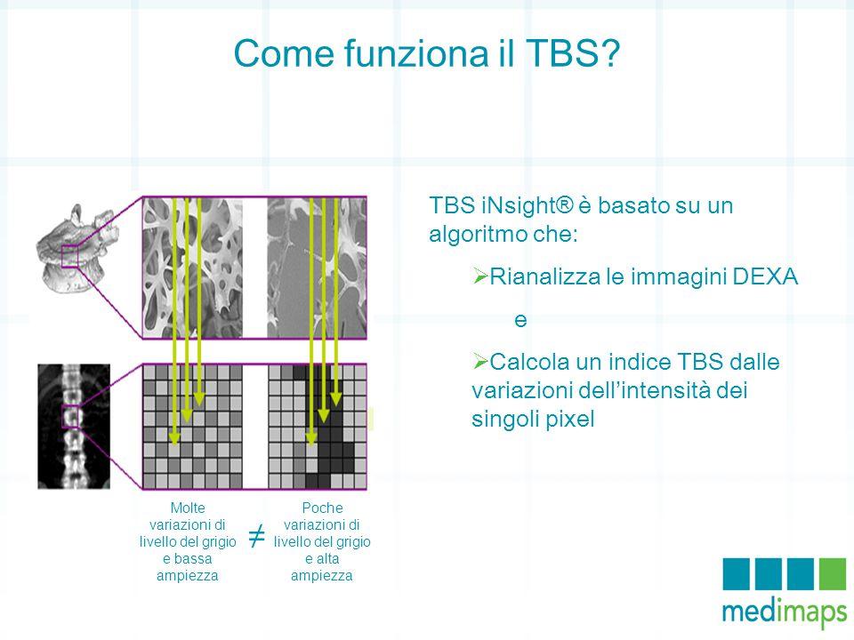 Come funziona il TBS? TBS iNsight® è basato su un algoritmo che:  Rianalizza le immagini DEXA e  Calcola un indice TBS dalle variazioni dell'intensi