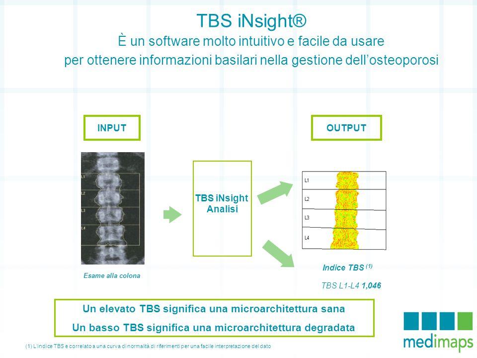 TBS iNsight® È un software molto intuitivo e facile da usare per ottenere informazioni basilari nella gestione dell'osteoporosi INPUT Esame alla colon