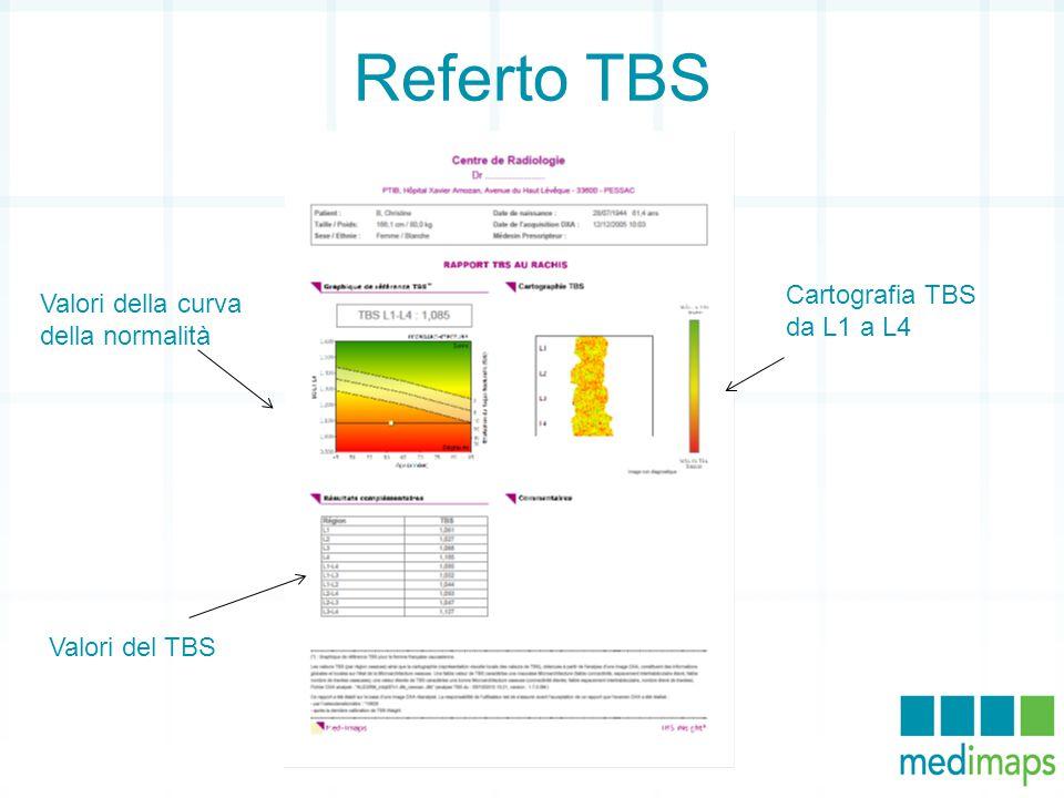 Referto TBS Valori della curva della normalità Cartografia TBS da L1 a L4 Valori del TBS
