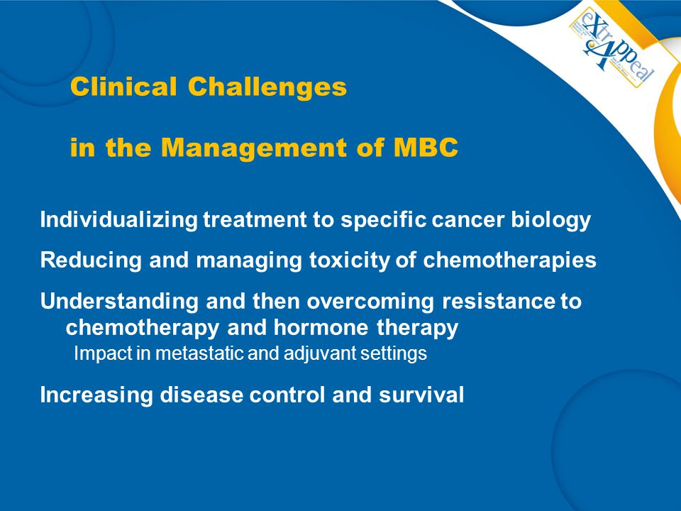 Clinical Challenges in the Management of MBC Individualizing treatment to specific cancer biology Reducing and managing toxicity of chemotherapies Und