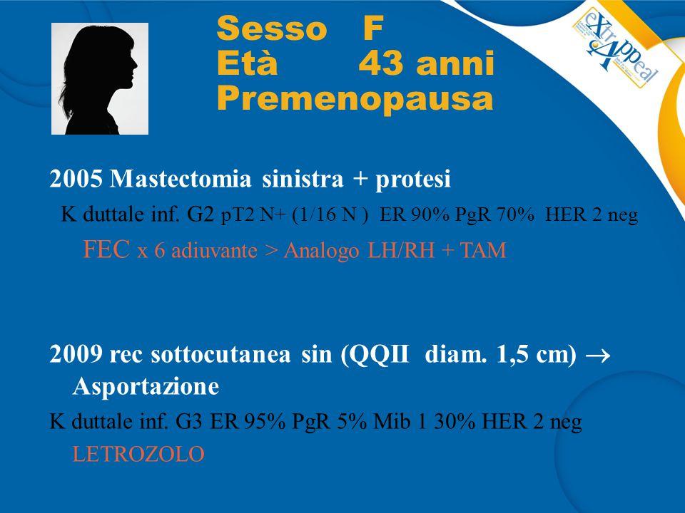 2005 Mastectomia sinistra + protesi K duttale inf. G2 pT2 N+ (1/16 N ) ER 90% PgR 70% HER 2 neg FEC x 6 adiuvante > Analogo LH/RH + TAM 2009 rec sotto