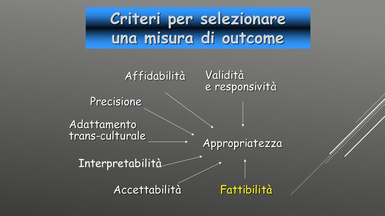 Criteri per selezionare una misura di outcome Affidabilità Precisione Adattamentotrans-culturale Validità e responsività AccettabilitàFattibilità Appr