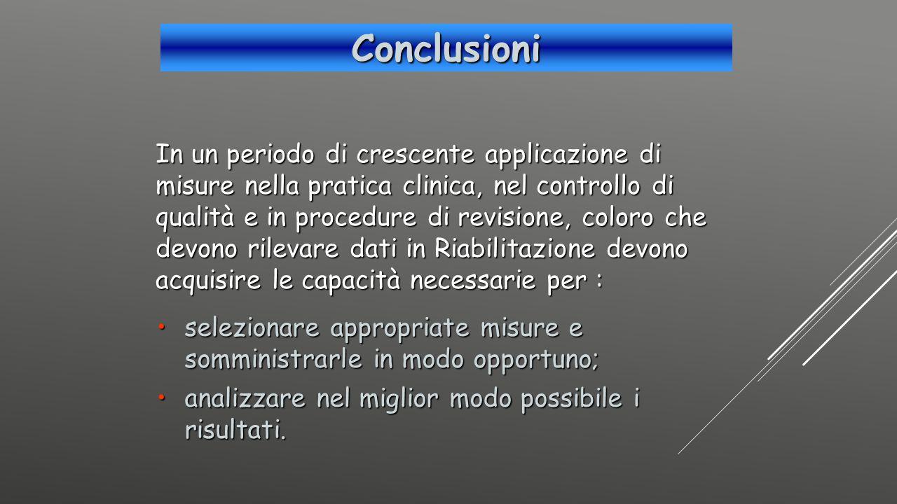 Conclusioni In un periodo di crescente applicazione di misure nella pratica clinica, nel controllo di qualità e in procedure di revisione, coloro che