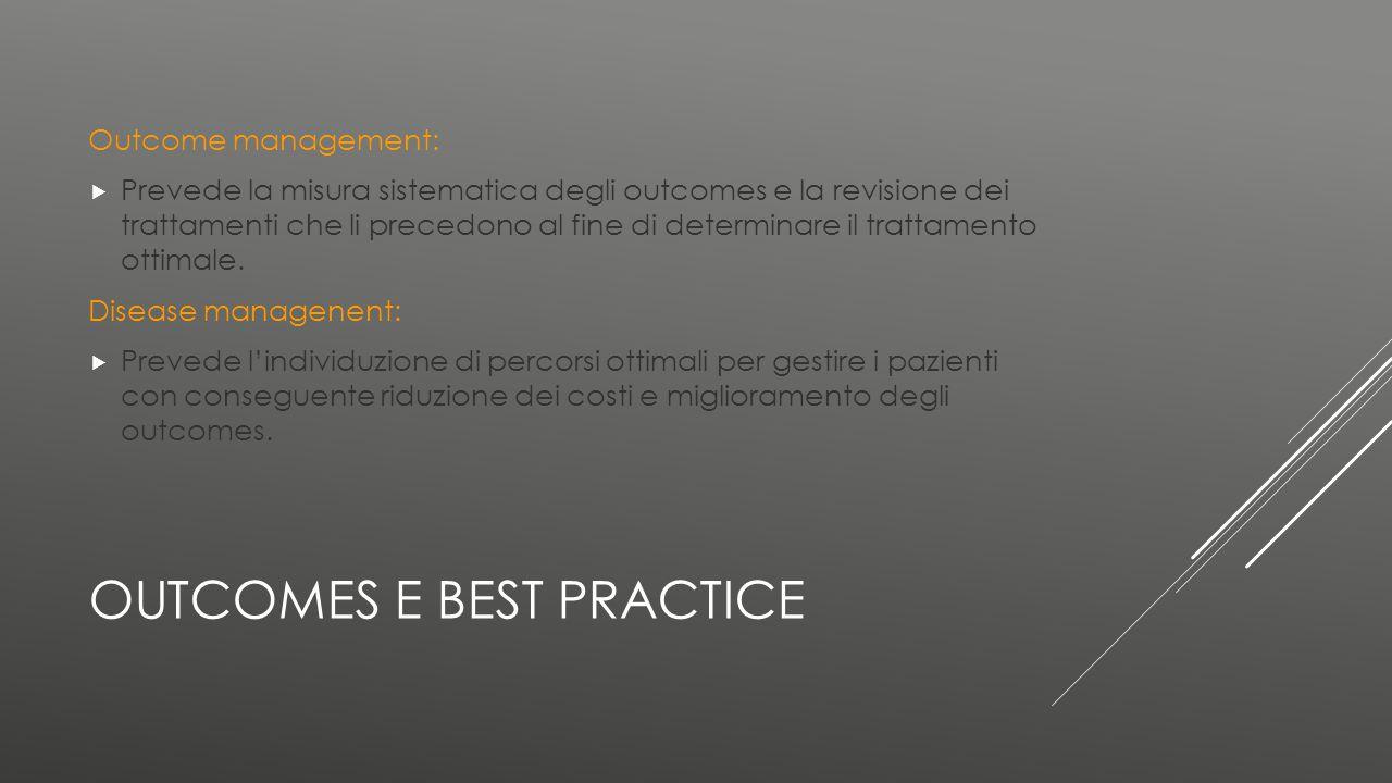 OUTCOMES E BEST PRACTICE Outcome management:  Prevede la misura sistematica degli outcomes e la revisione dei trattamenti che li precedono al fine di