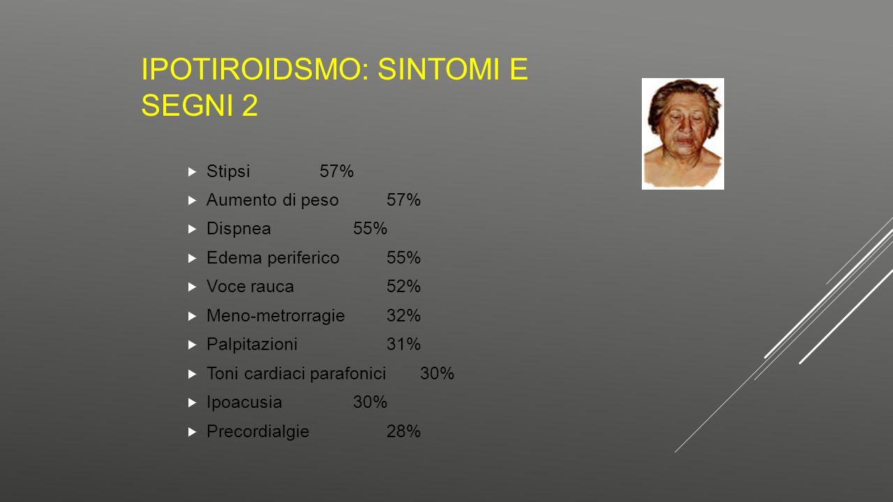 IPOTIROIDSMO: SINTOMI E SEGNI 2  Stipsi57%  Aumento di peso57%  Dispnea55%  Edema periferico55%  Voce rauca52%  Meno-metrorragie32%  Palpitazio