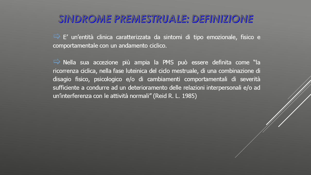 SINDROME PREMESTRUALE: DEFINIZIONE  E' un'entità clinica caratterizzata da sintomi di tipo emozionale, fisico e comportamentale con un andamento cicl