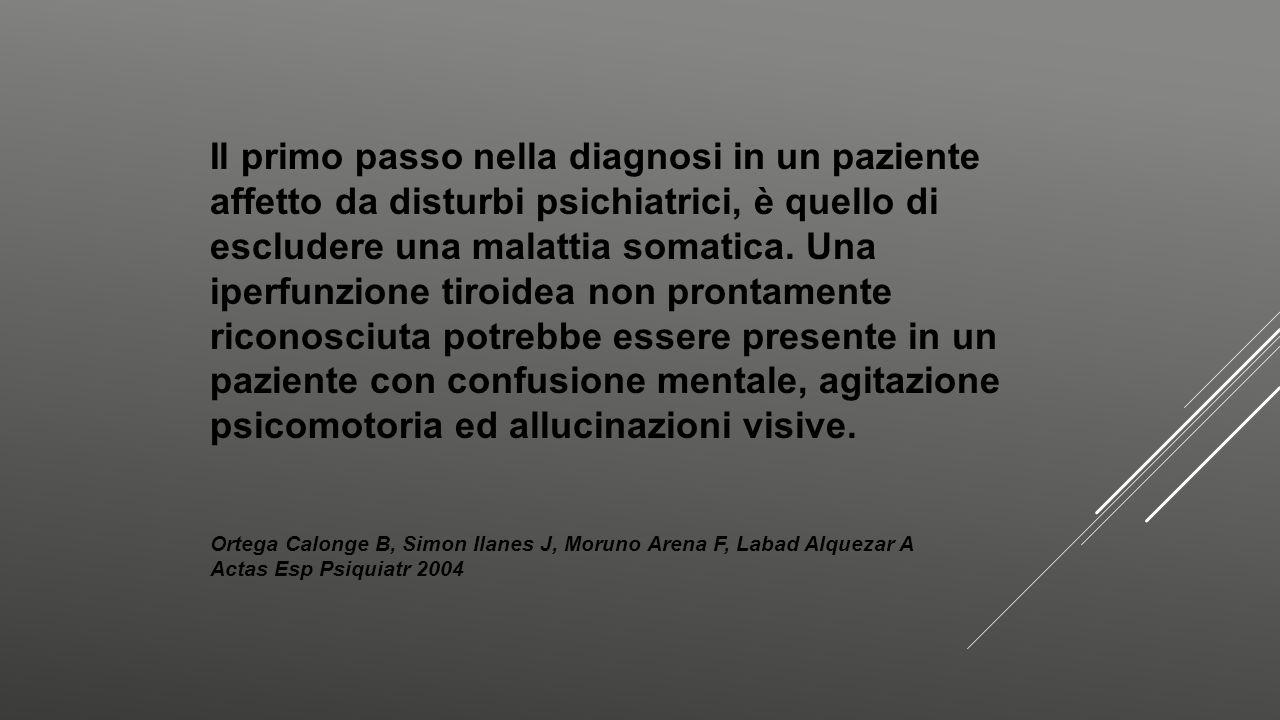 Il primo passo nella diagnosi in un paziente affetto da disturbi psichiatrici, è quello di escludere una malattia somatica. Una iperfunzione tiroidea