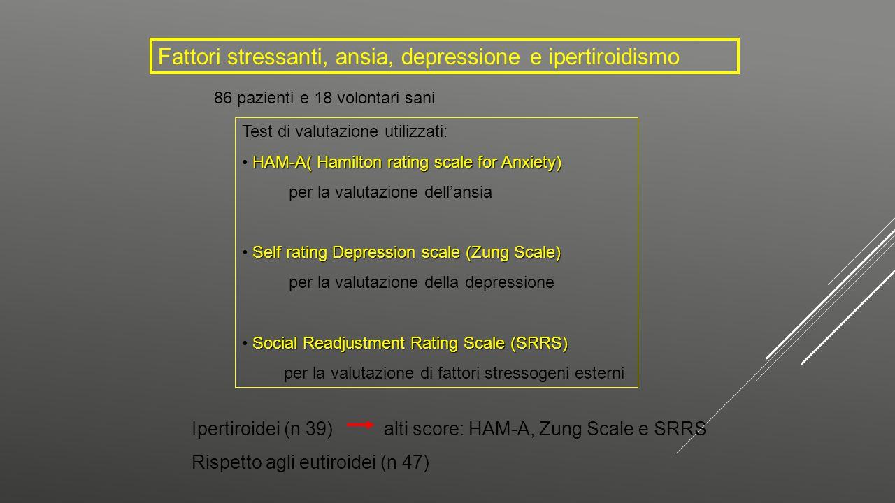 Fattori stressanti, ansia, depressione e ipertiroidismo 86 pazienti e 18 volontari sani Test di valutazione utilizzati: HAM-A( Hamilton rating scale f