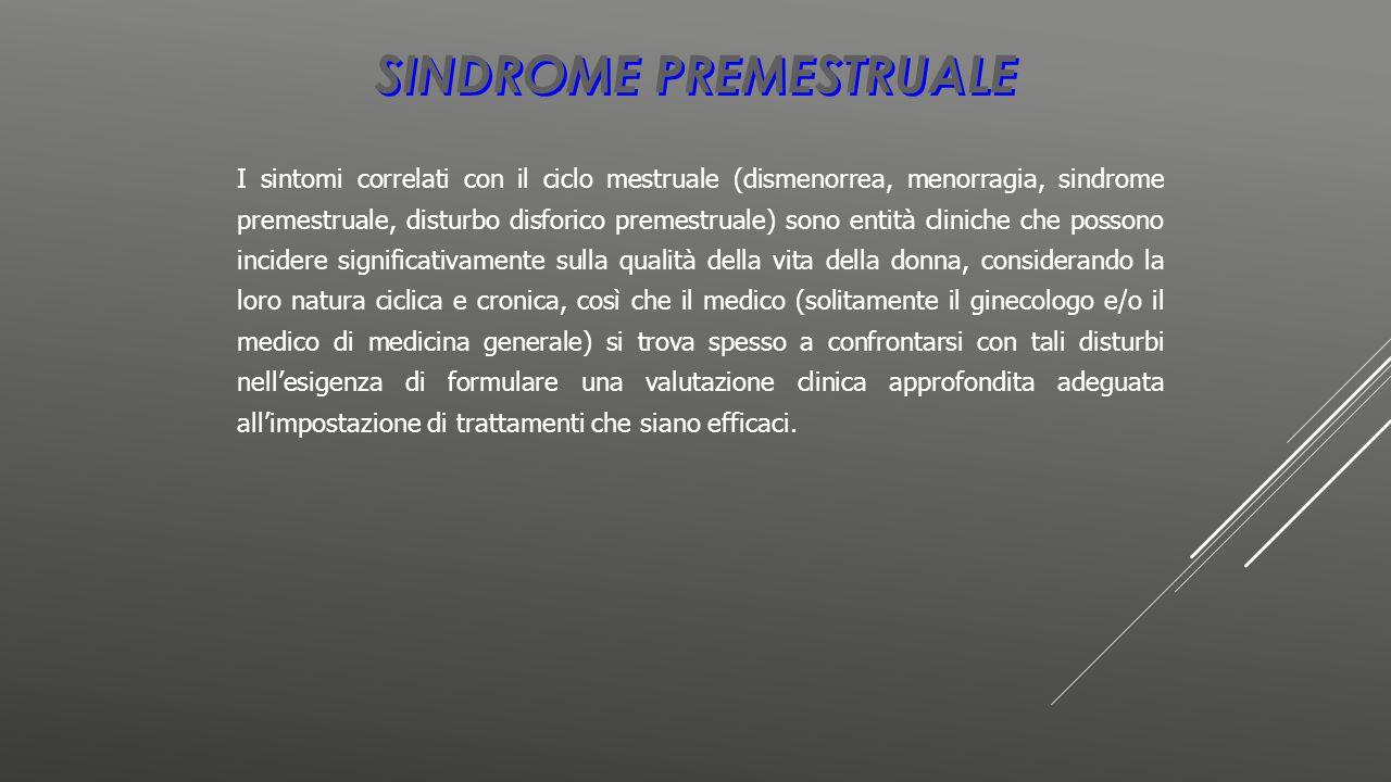 SINDROME PREMESTRUALE I sintomi correlati con il ciclo mestruale (dismenorrea, menorragia, sindrome premestruale, disturbo disforico premestruale) son