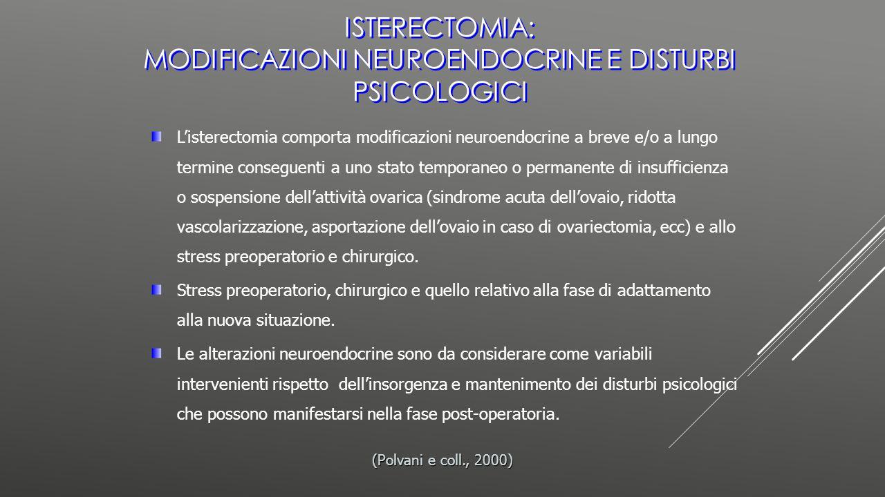 L'isterectomia comporta modificazioni neuroendocrine a breve e/o a lungo termine conseguenti a uno stato temporaneo o permanente di insufficienza o so