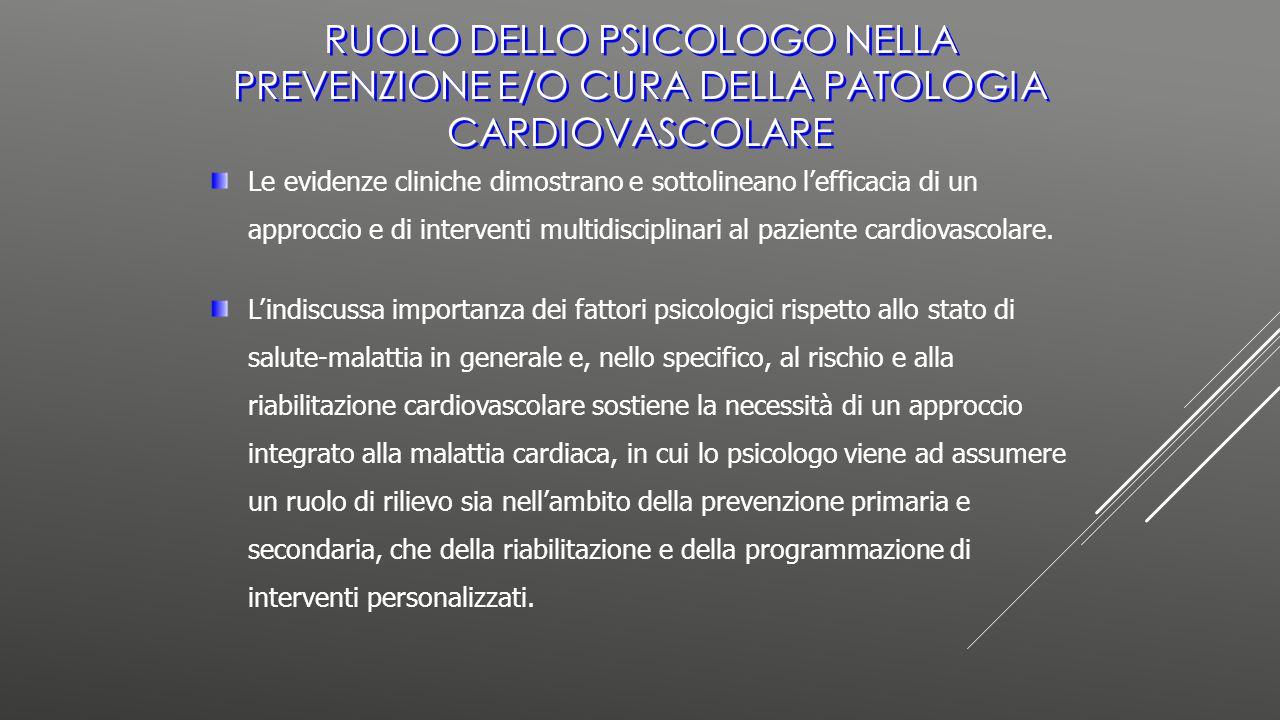 Le evidenze cliniche dimostrano e sottolineano l'efficacia di un approccio e di interventi multidisciplinari al paziente cardiovascolare. L'indiscussa