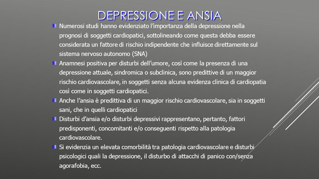 DEPRESSIONE E ANSIA Numerosi studi hanno evidenziato l'importanza della depressione nella prognosi di soggetti cardiopatici, sottolineando come questa