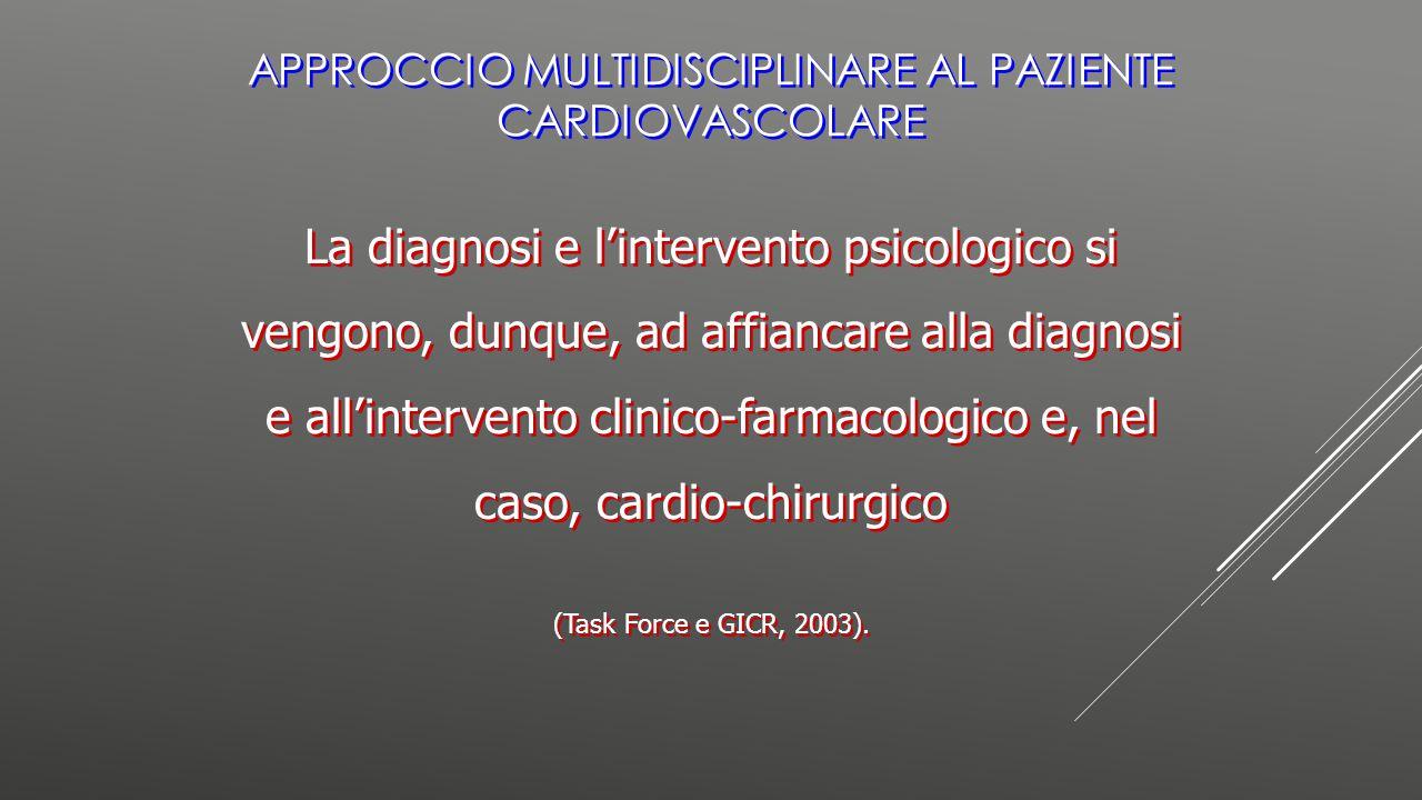 La diagnosi e l'intervento psicologico si vengono, dunque, ad affiancare alla diagnosi e all'intervento clinico-farmacologico e, nel caso, cardio-chir
