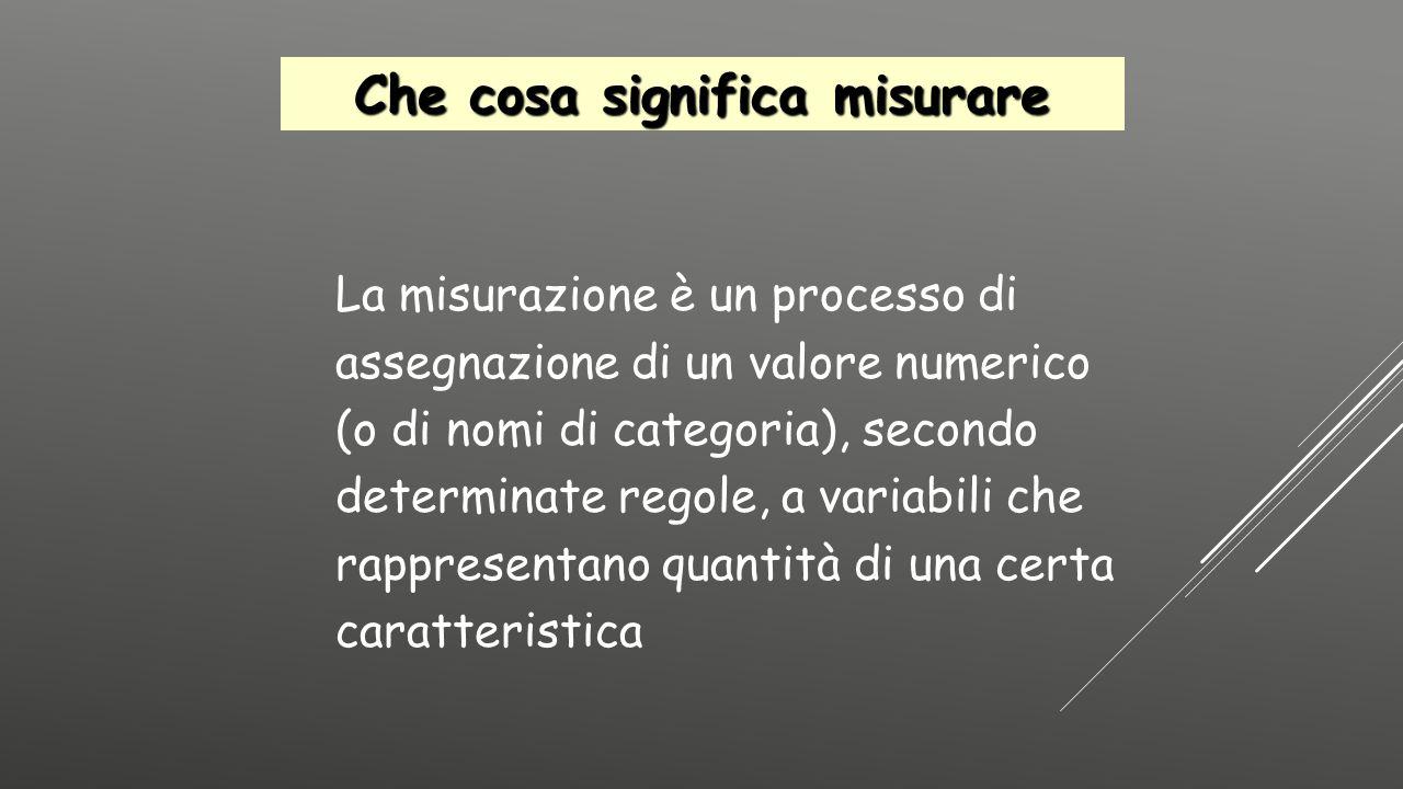 La misurazione è un processo di assegnazione di un valore numerico (o di nomi di categoria), secondo determinate regole, a variabili che rappresentano