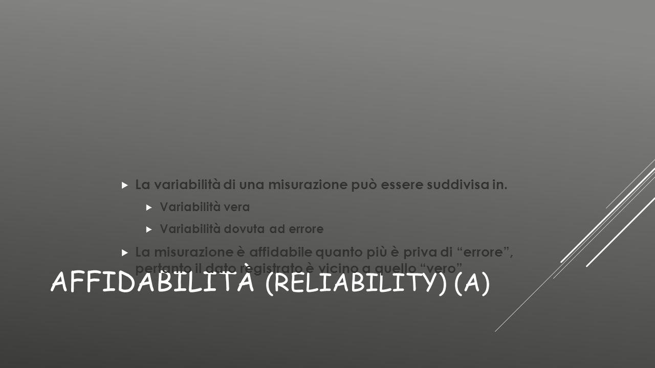 AFFIDABILITÀ (RELIABILITY) (A)  La variabilità di una misurazione può essere suddivisa in.  Variabilità vera  Variabilità dovuta ad errore  La mis