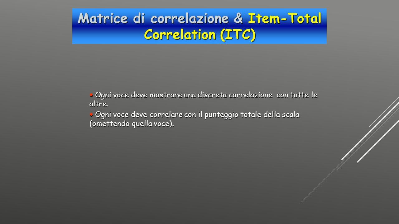 Matrice di correlazione & Item-Total Correlation (ITC)  Ogni voce deve mostrare una discreta correlazione con tutte le altre.  Ogni voce deve correl