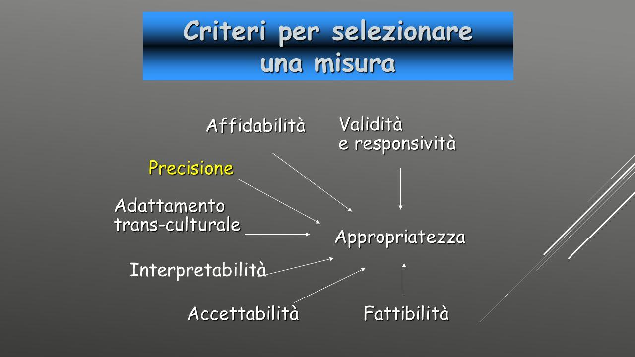 Criteri per selezionare una misura Affidabilità Precisione Adattamentotrans-culturale Validità e responsività AccettabilitàFattibilità Appropriatezza