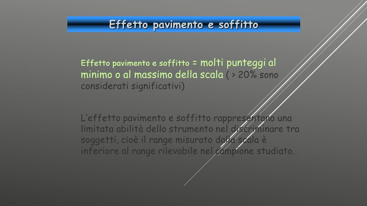 Effetto pavimento e soffitto = molti punteggi al minimo o al massimo della scala ( > 20% sono considerati significativi) L'effetto pavimento e soffitt