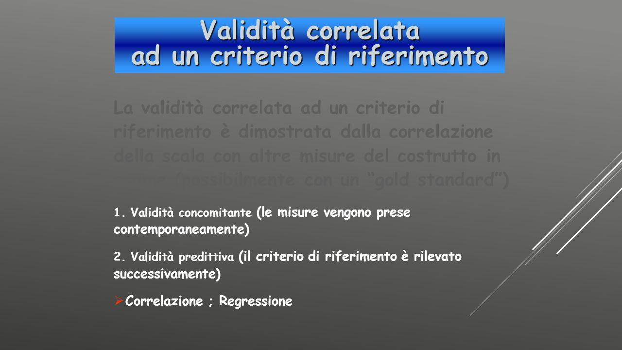 La validità correlata ad un criterio di riferimento è dimostrata dalla correlazione della scala con altre misure del costrutto in esame (possibilmente