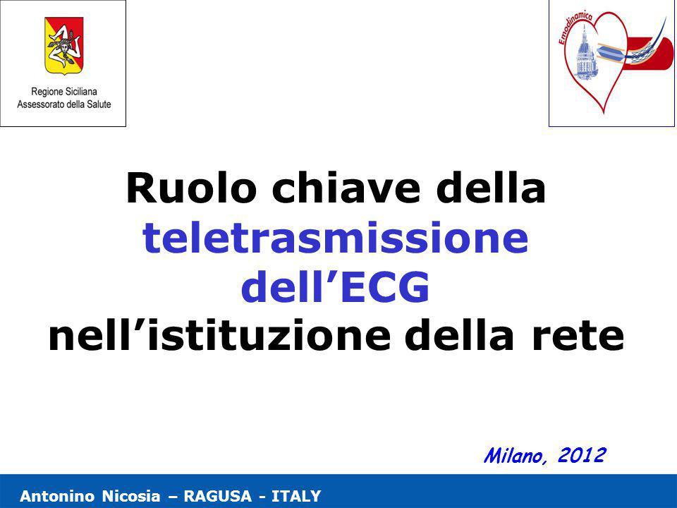 Antonino Nicosia – RAGUSA - ITALY Ruolo chiave della teletrasmissione dell'ECG nell'istituzione della rete Milano, 2012