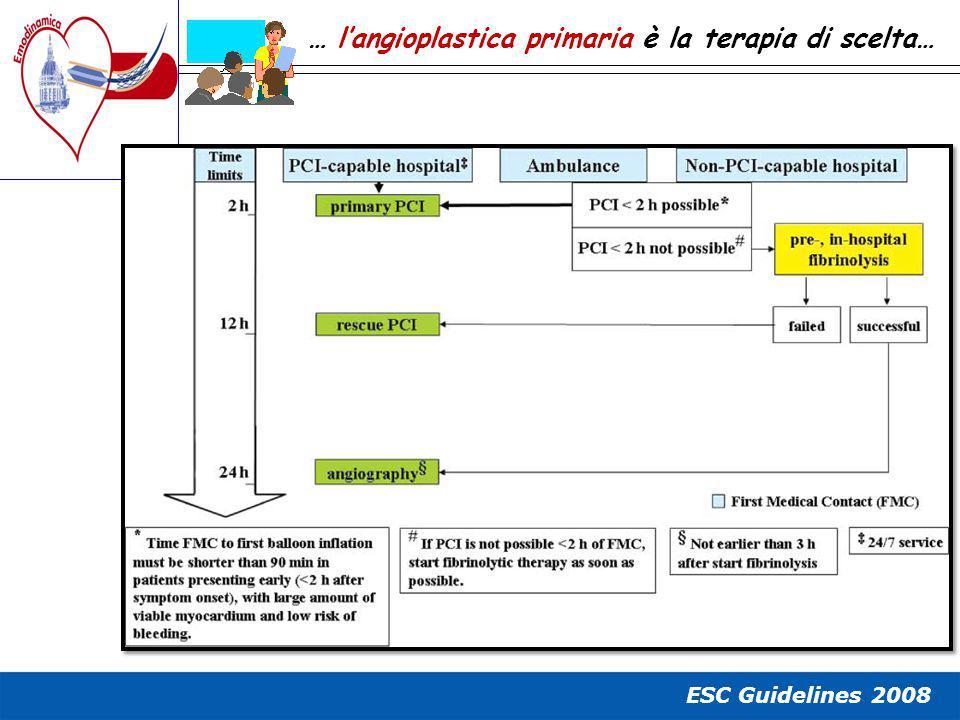 ESC Guidelines 2008 … l'angioplastica primaria è la terapia di scelta…