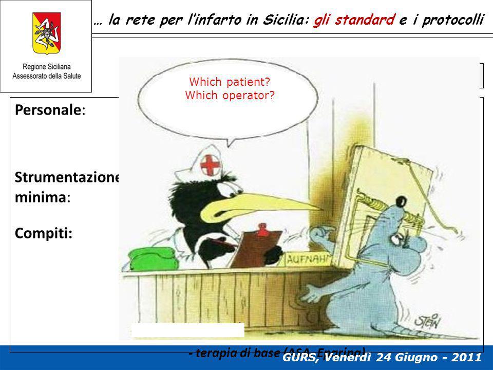 … la rete per l'infarto in Sicilia: gli standard e i protocolli Standard e compiti del 118 Personale: …in grado di garantire l'esecuzione di un tracci