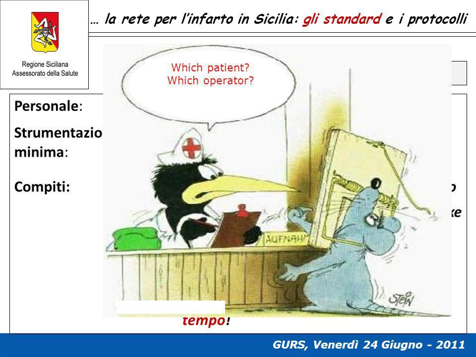 … la rete per l'infarto in Sicilia: gli standard e i protocolli Standard e compiti del PS Personale: standard Strumentazione minima: standard Compiti: