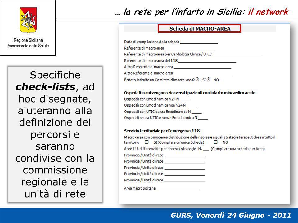 … la rete per l'infarto in Sicilia: il network Specifiche check-lists, ad hoc disegnate, aiuteranno alla definizione dei percorsi e saranno condivise