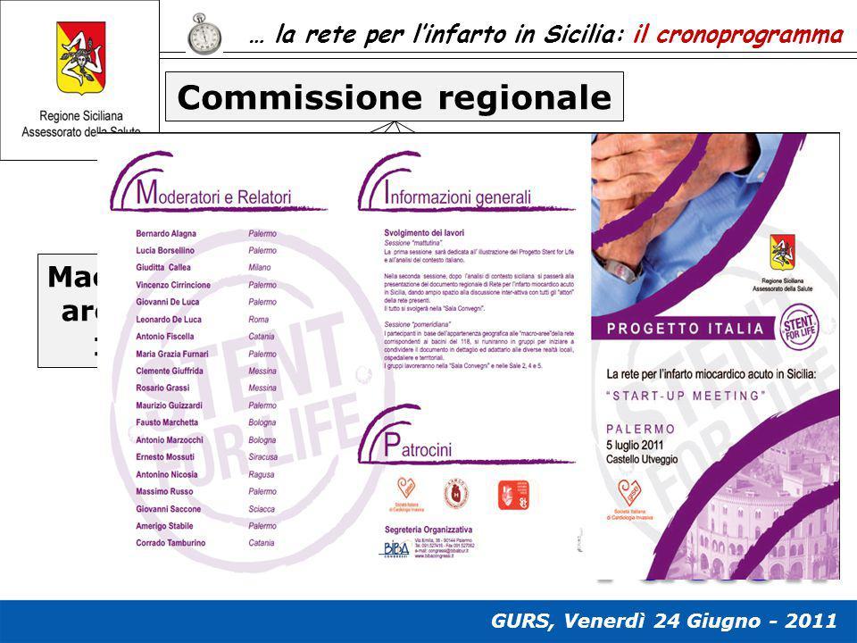 … la rete per l'infarto in Sicilia: il cronoprogramma Commissione regionale Macro- area 1 Macro- area 2 Macro- area 3 Macro- area 4 Fase 1: condivisio
