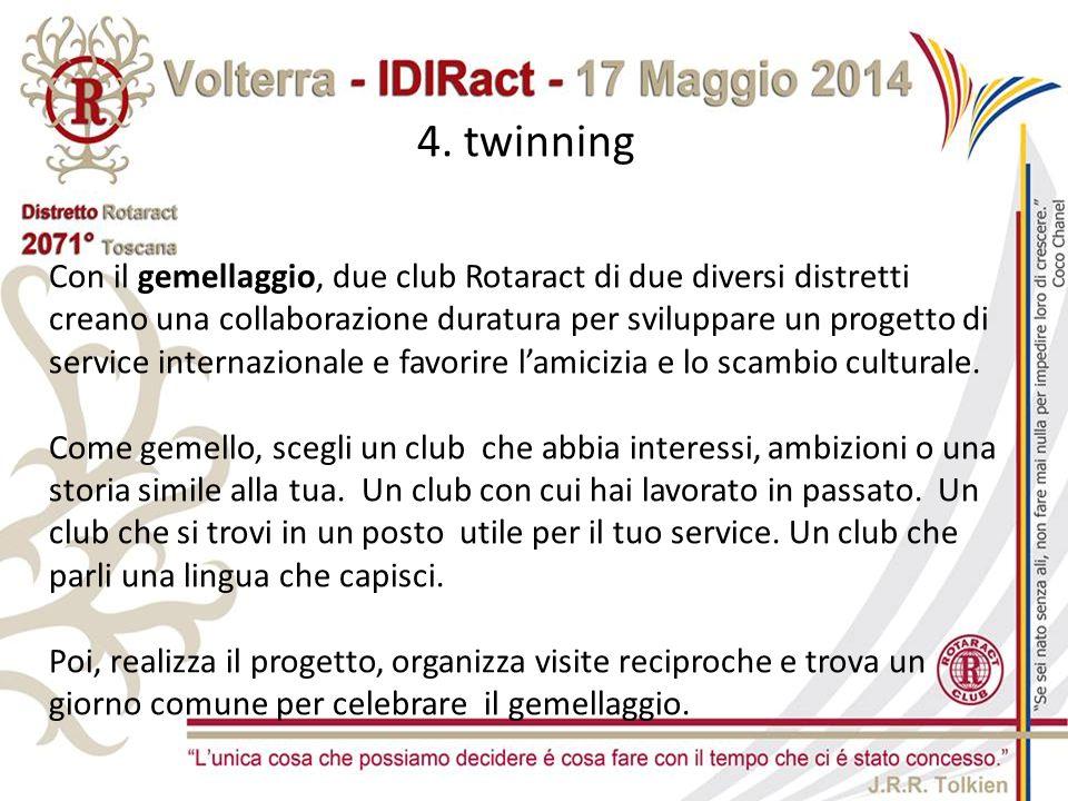 4. twinning Con il gemellaggio, due club Rotaract di due diversi distretti creano una collaborazione duratura per sviluppare un progetto di service in