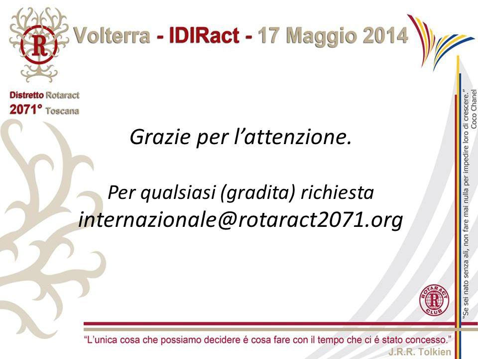 Grazie per l'attenzione. Per qualsiasi (gradita) richiesta internazionale@rotaract2071.org
