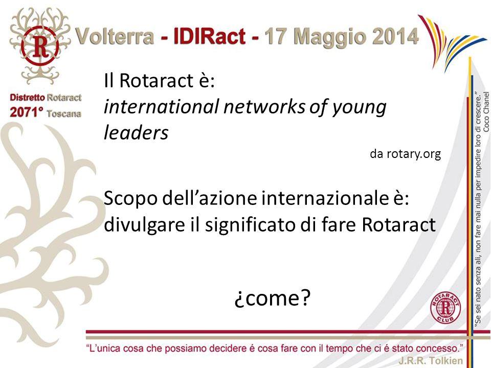 Il Rotaract è: international networks of young leaders da rotary.org Scopo dell'azione internazionale è: divulgare il significato di fare Rotaract ¿co