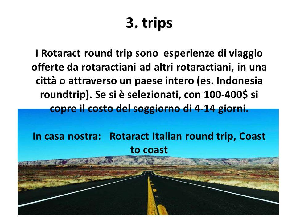 3. trips I Rotaract round trip sono esperienze di viaggio offerte da rotaractiani ad altri rotaractiani, in una città o attraverso un paese intero (es