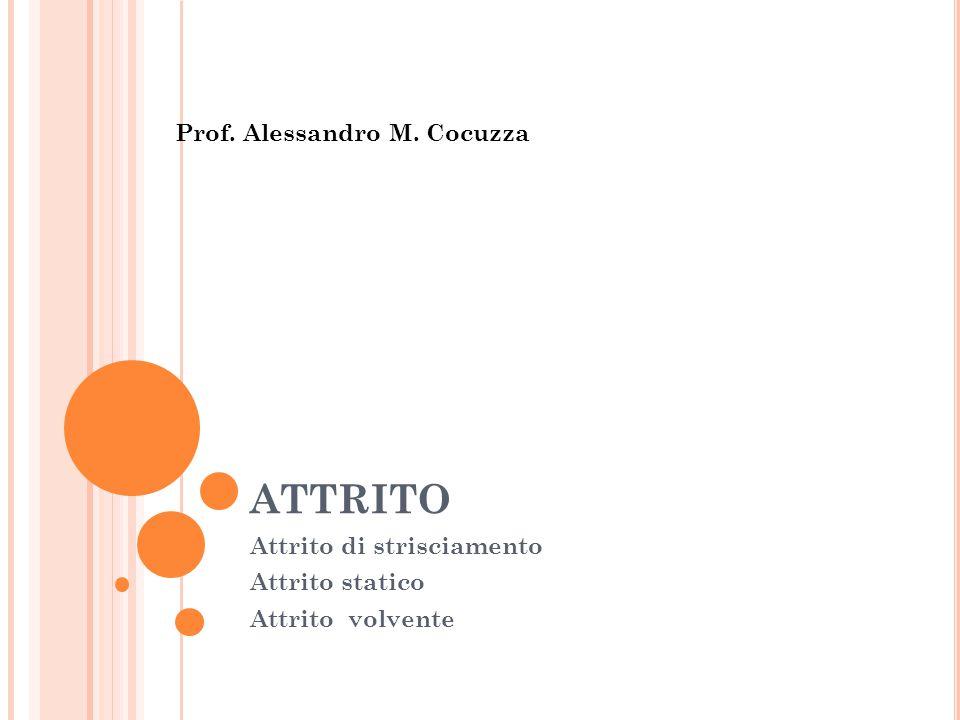 ATTRITO Attrito di strisciamento Attrito statico Attrito volvente Prof. Alessandro M. Cocuzza
