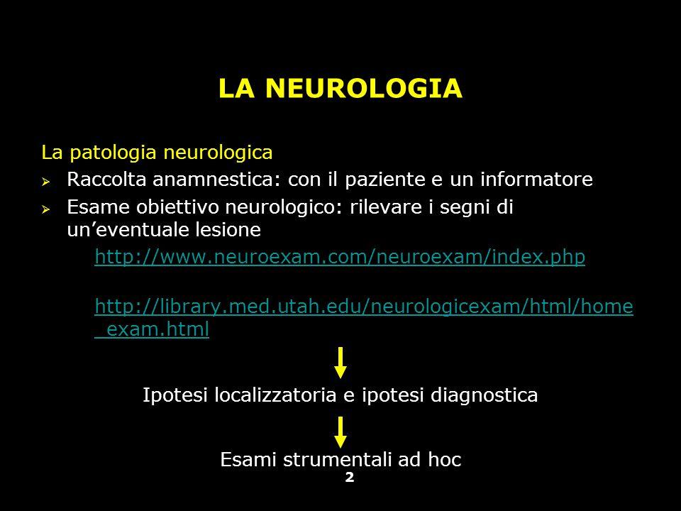 Vallar, Papagno (a cura di), Manuale di neuropsicologia, Il Mulino, 2011 Capitolo IV. ELEMENTI DI NEUROLOGIA 2 LA NEUROLOGIA La patologia neurologica