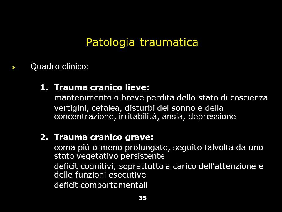 Vallar, Papagno (a cura di), Manuale di neuropsicologia, Il Mulino, 2011 Capitolo IV. ELEMENTI DI NEUROLOGIA Patologia traumatica  Quadro clinico: 1.