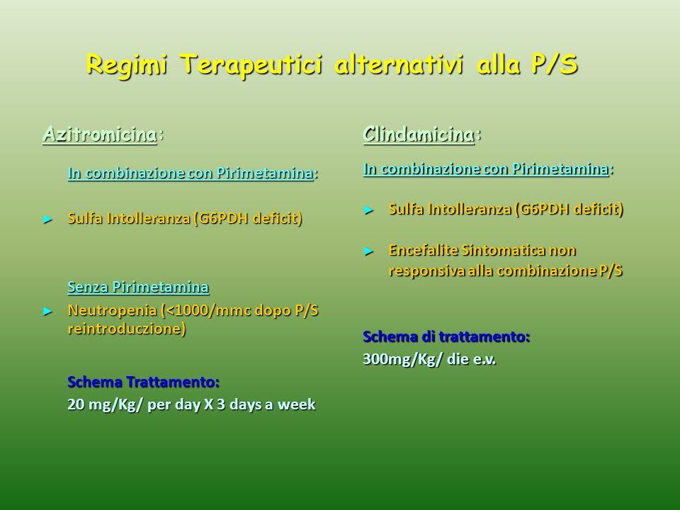 Regimi Terapeutici alternativi alla P/S Azitromicina: In combinazione con Pirimetamina: ► Sulfa Intolleranza (G6PDH deficit) Senza Pirimetamina ► Neutropenia (<1000/mmc dopo P/S reintroduczione) Schema Trattamento: 20 mg/Kg/ per day X 3 days a week Clindamicina: In combinazione con Pirimetamina: ► Sulfa Intolleranza (G6PDH deficit) ► Encefalite Sintomatica non responsiva alla combinazione P/S Schema di trattamento: 300mg/Kg/ die e.v.